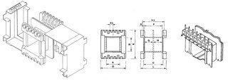 Coil bobbin EI 66 Lam. 55x66