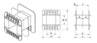 Coil bobbin UI 125 Lam.250x225