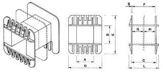 Coil bobbin UI 75 Lam.125x125