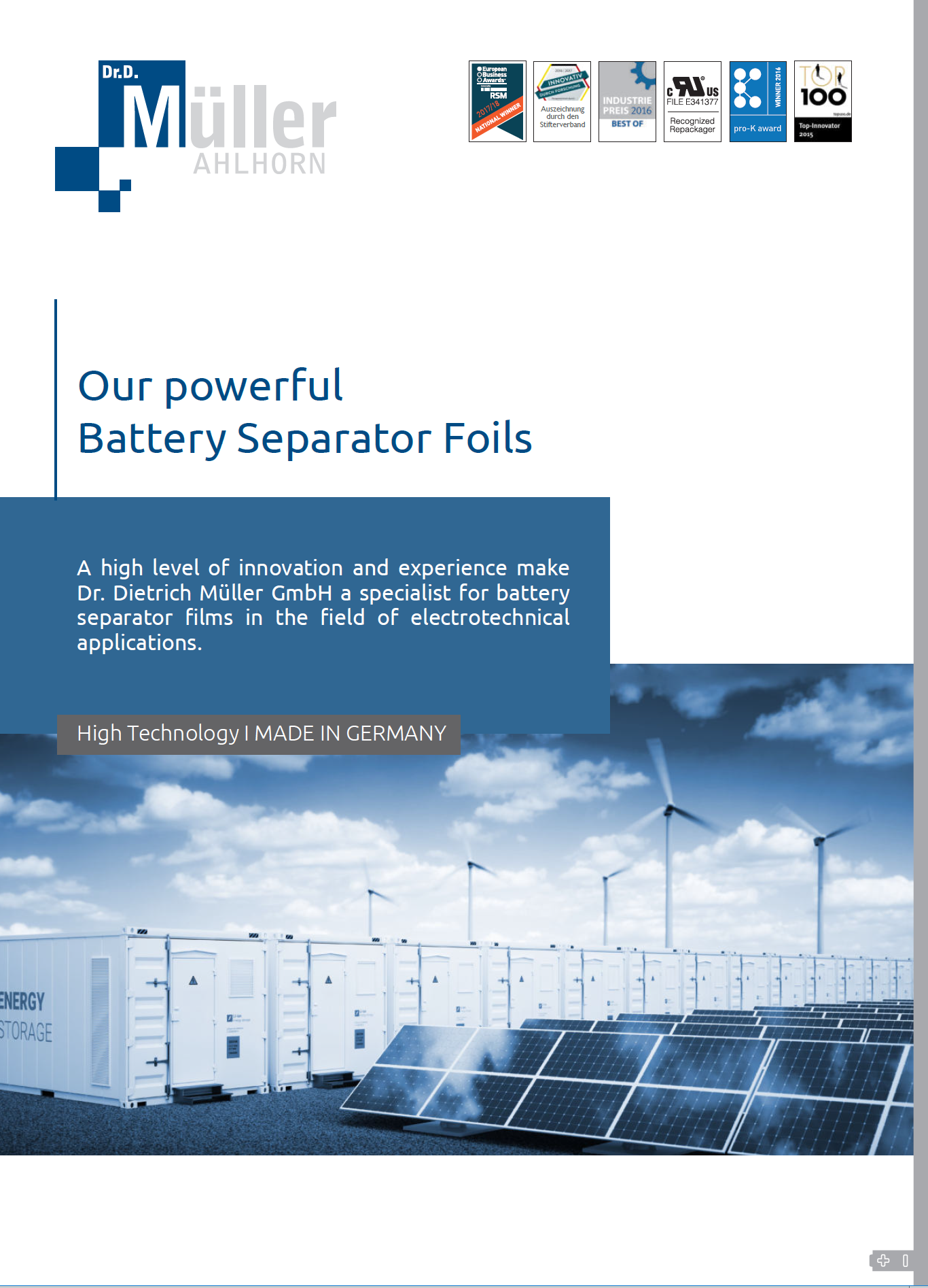 brochure for battery separator films